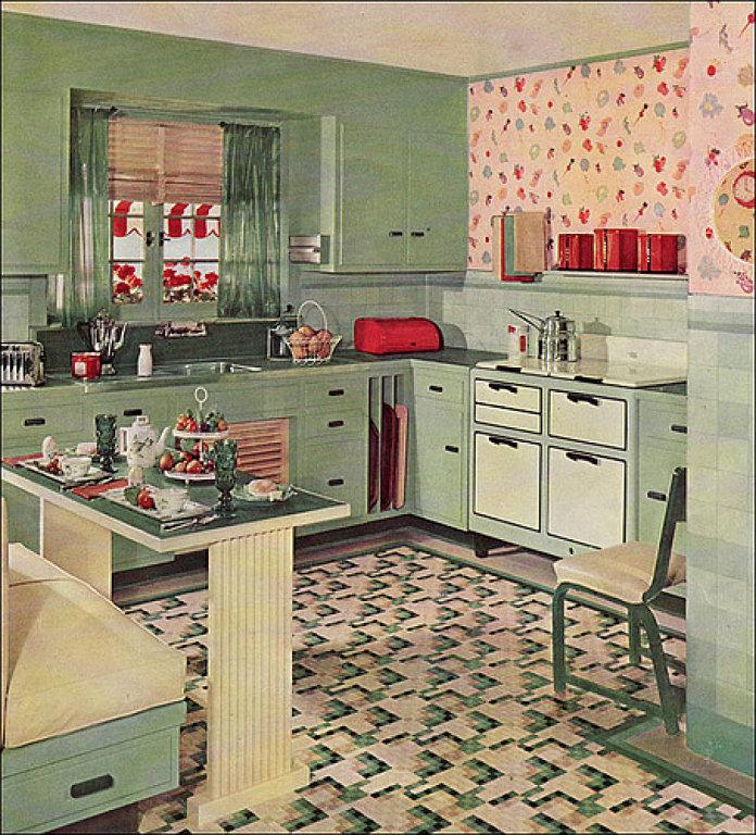 Increíble Cocina Estilo Años 50 De Diseño Ilustración - Ideas de ...